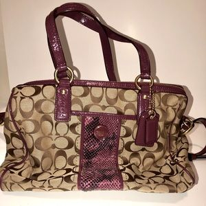 Coach Python Stripe Signature canvas purse
